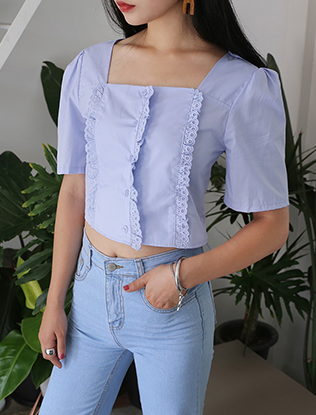 Lace-Trimmed Cropped Blouse