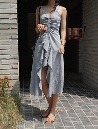 Ruffled Front Ruched Dress