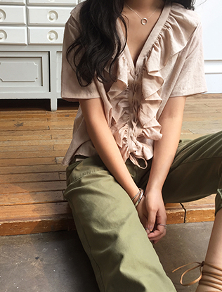 Frill Trim Lace-Up Front Blouse