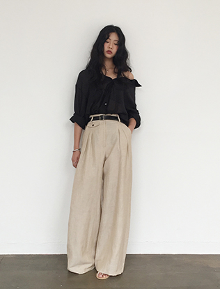 High Waist Flared Linen Pants