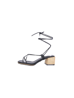 Block Heel Wraparound Sandals