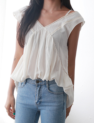 Cotton V-Neck Sleeveless Blouse