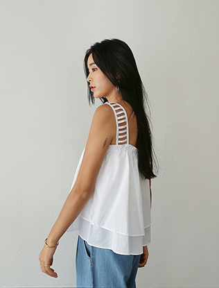 Ladder Straps Flared Blouse