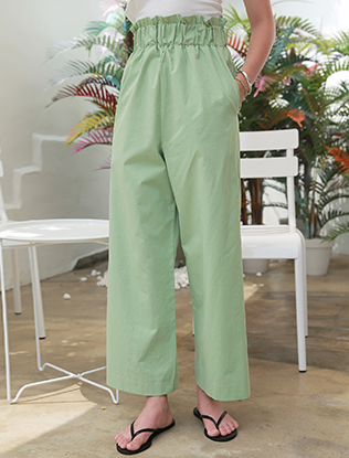Wide-Leg Elasticized Pants