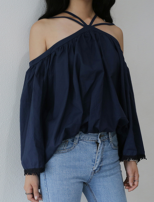 V-Strap Halter Off-Shoulder Blouse