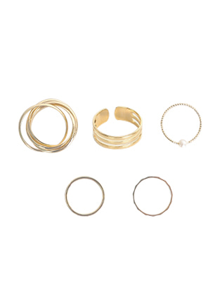 Five-Piece Glossy Ring Set