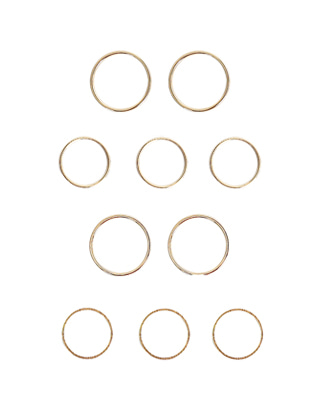 10-Piece Metallic Ring Set