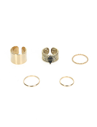 Five-Piece Gold Tone Ring Set