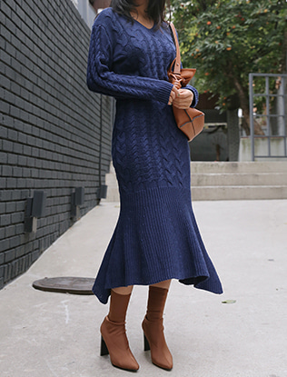 Braid Knit Sweater and Skirt Set