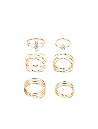 Six-Piece Stone Charm Ring Set
