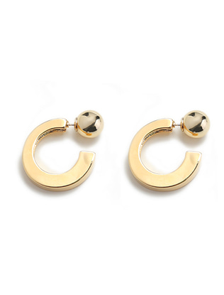 Metallic Ball and Hoop Earrings