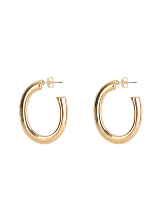 Push Back Lock Oval Earrings