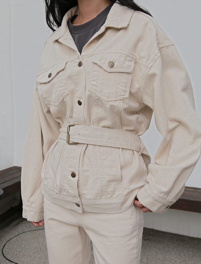 Ivory Belted Cotton Jacket