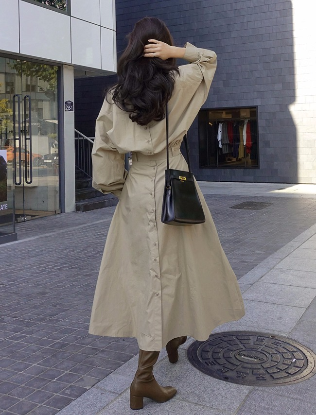 Beige Back Button Shirt Dress