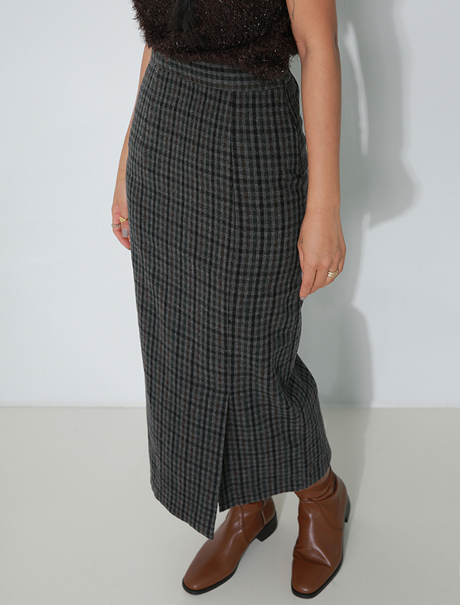 Green Check Straight Midaxi Skirt
