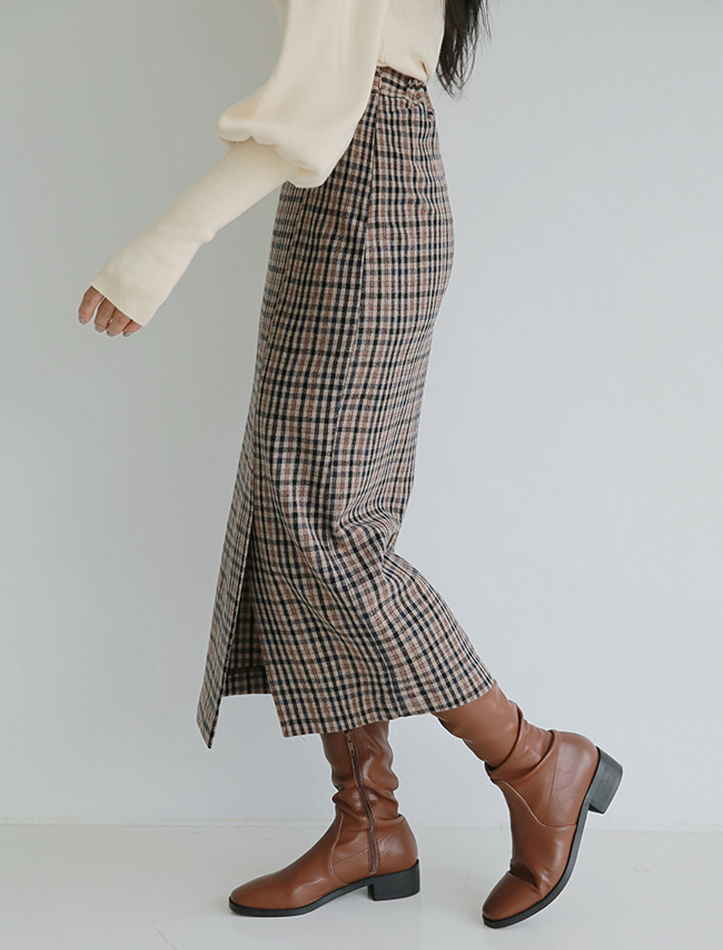 Beige Check Straight Midaxi Skirt