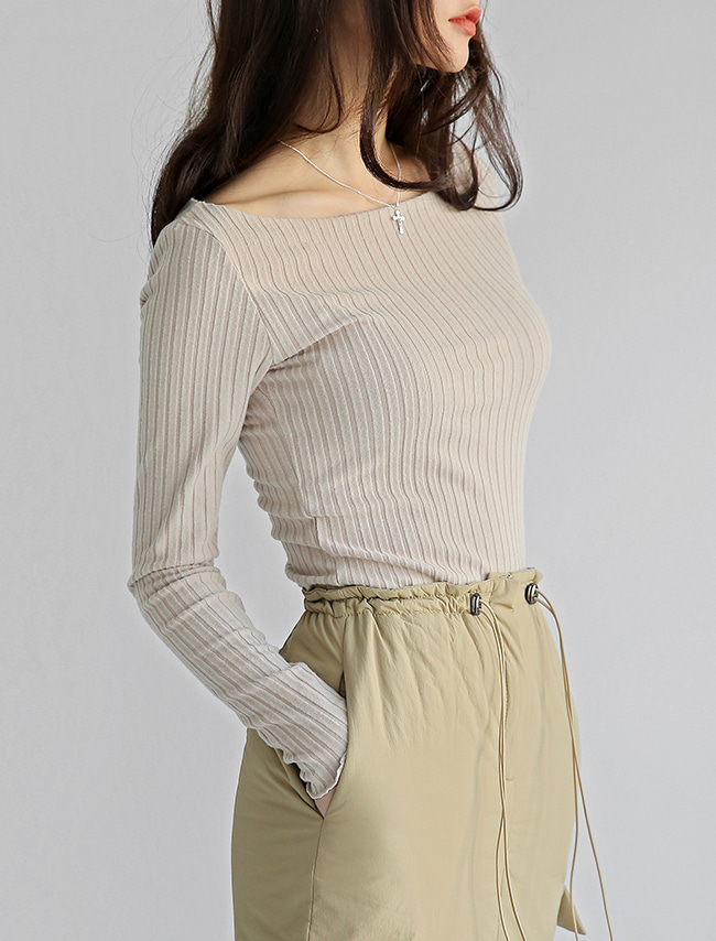 Beige Wide Neck Long Sleeve T-Shirt