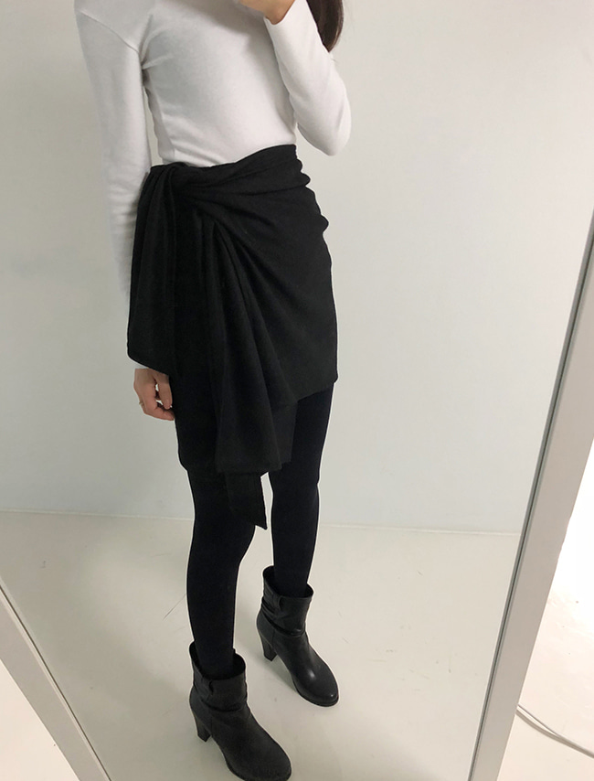 Black Side Tie Wrap Skirt