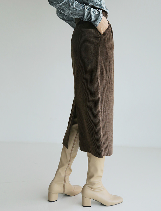 Brown Back Slit Corduroy Midi Skirt