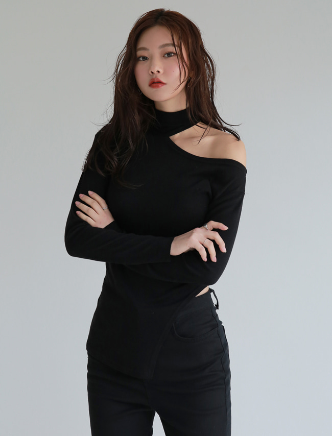 Black High Neck Cutout T-Shirt
