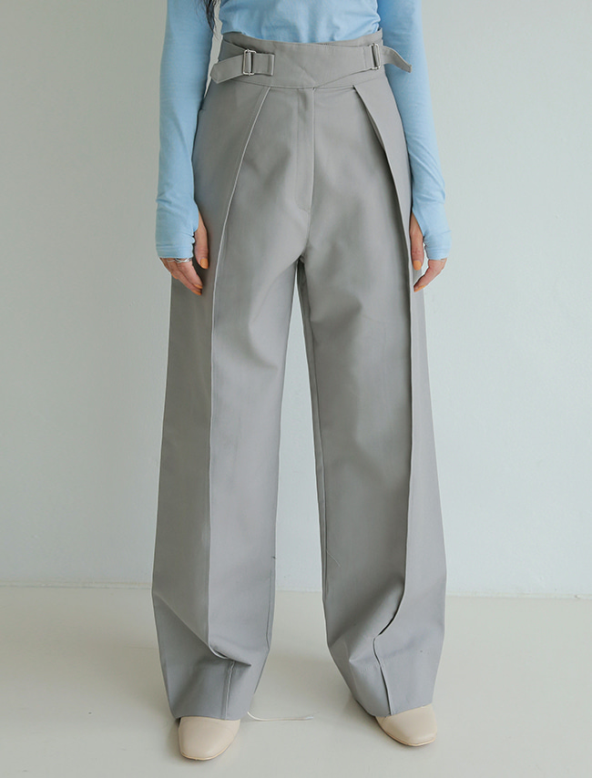Gray Side Buckled Straps Pants