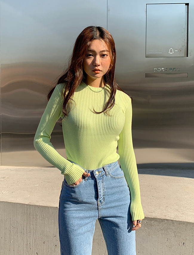 Green Ribbed Knit Top
