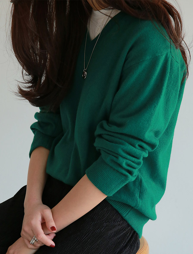 Green V-Neck Top