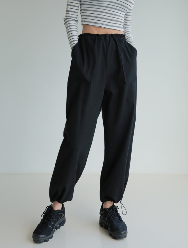 Black Two-Way Drawstring Pants