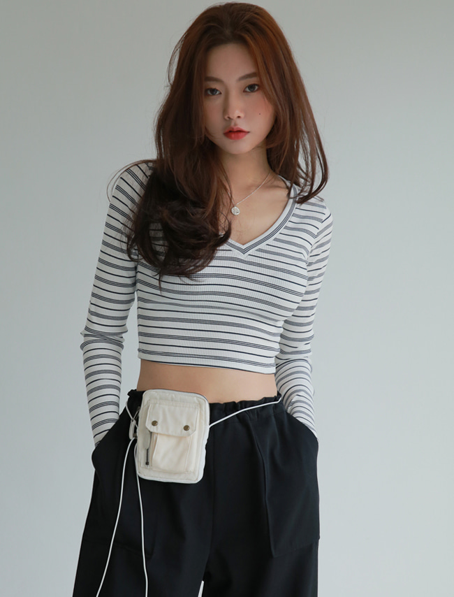Navy Stripe V-Neck Cropped T-Shirt