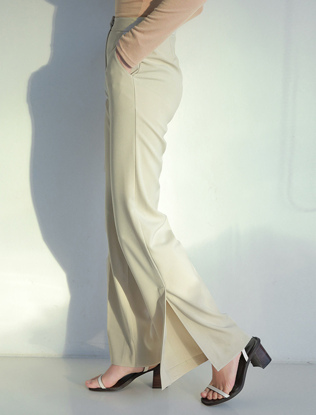 Ivory Ankle Slit Slacks
