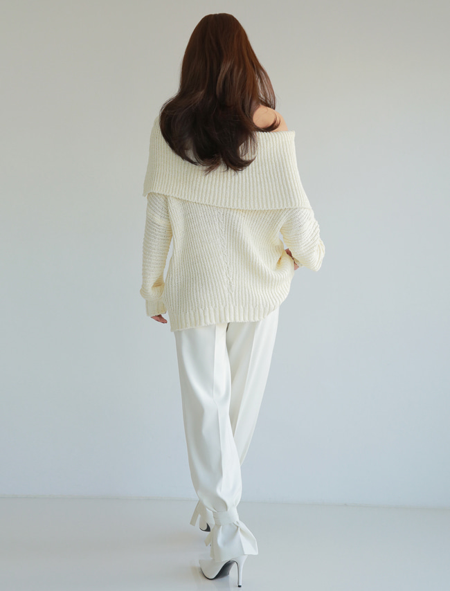 Ivory Baggy Off-Shoulder Knit Sweater
