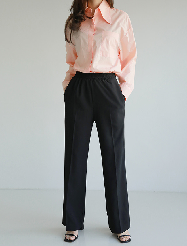 Black Ribbon Cuffs Slacks