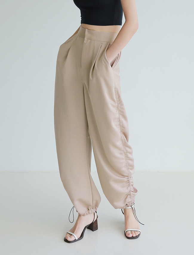 Beige Shirred Jogger Pants