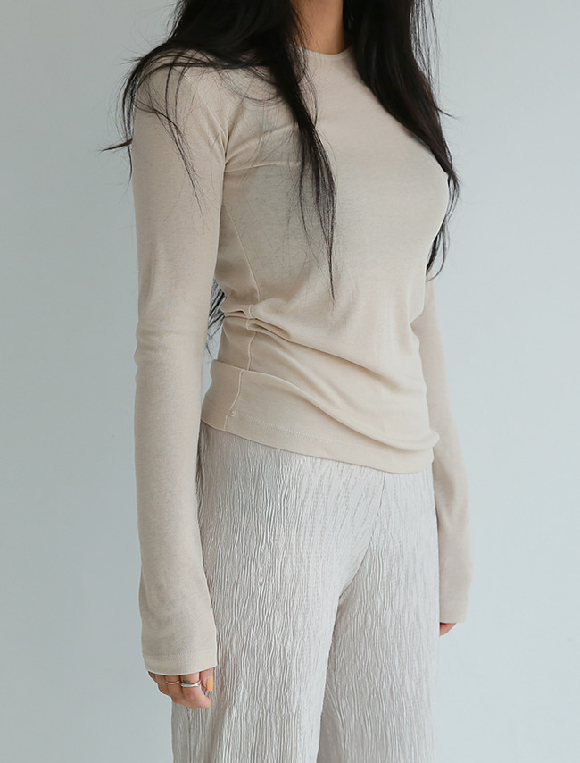 Beige Tencel Blend Long Sleeve T-Shirt