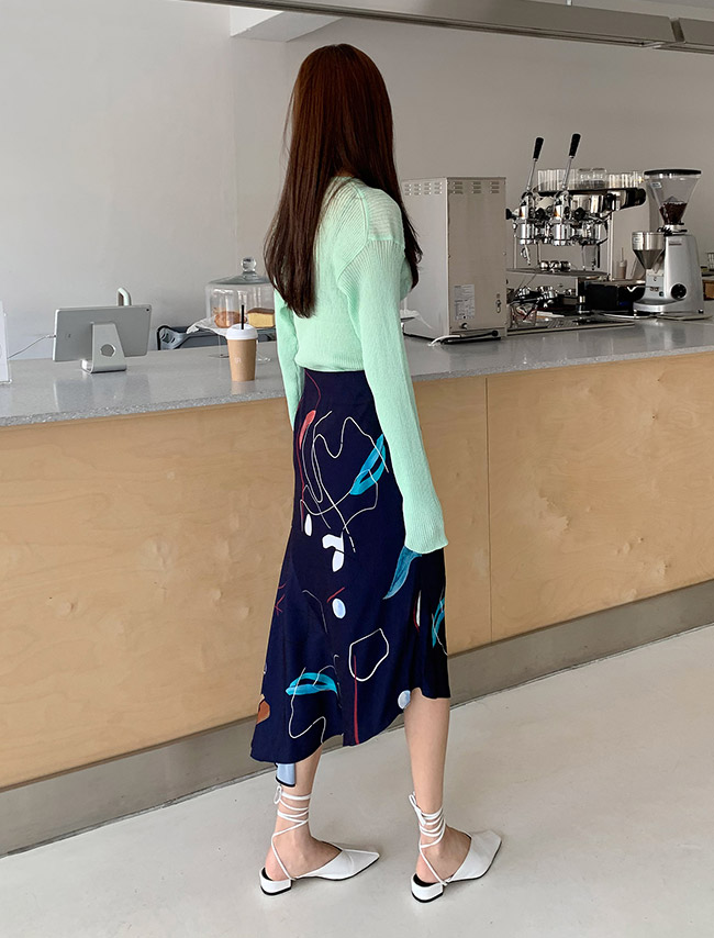 Navy Abstract Print Asymmetrical Skirt