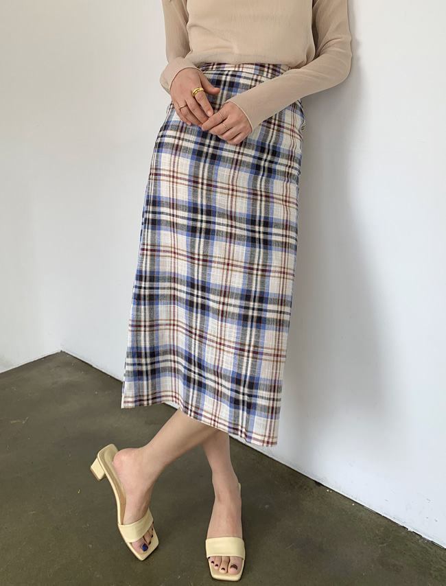 Long Check Skirt