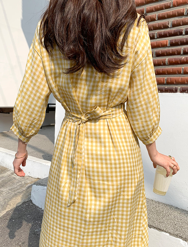 Check 3/4 Sleeve Dress