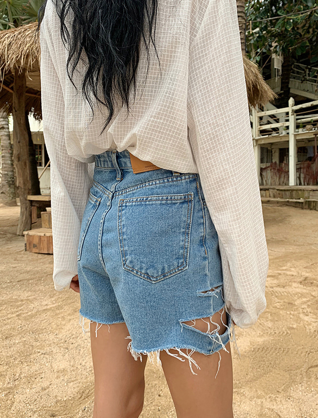 Ripped Leg High Waist Shorts