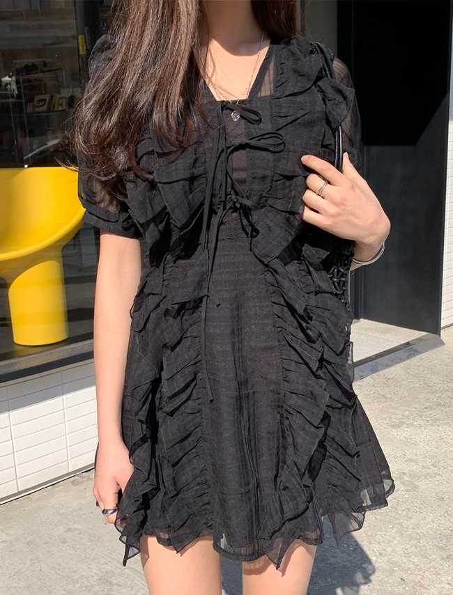 Frilled Check Dress