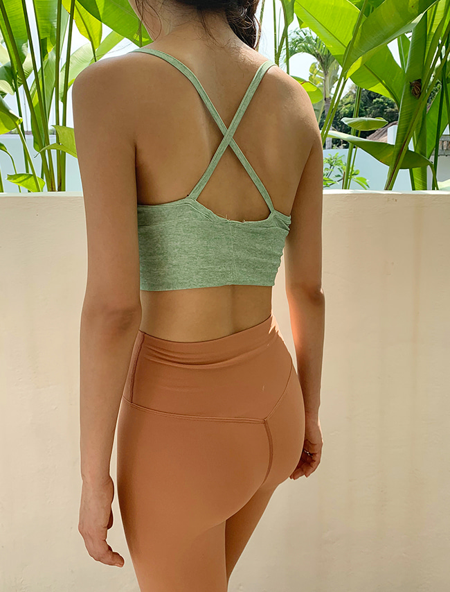 Green Heathered Cropped Bra Top