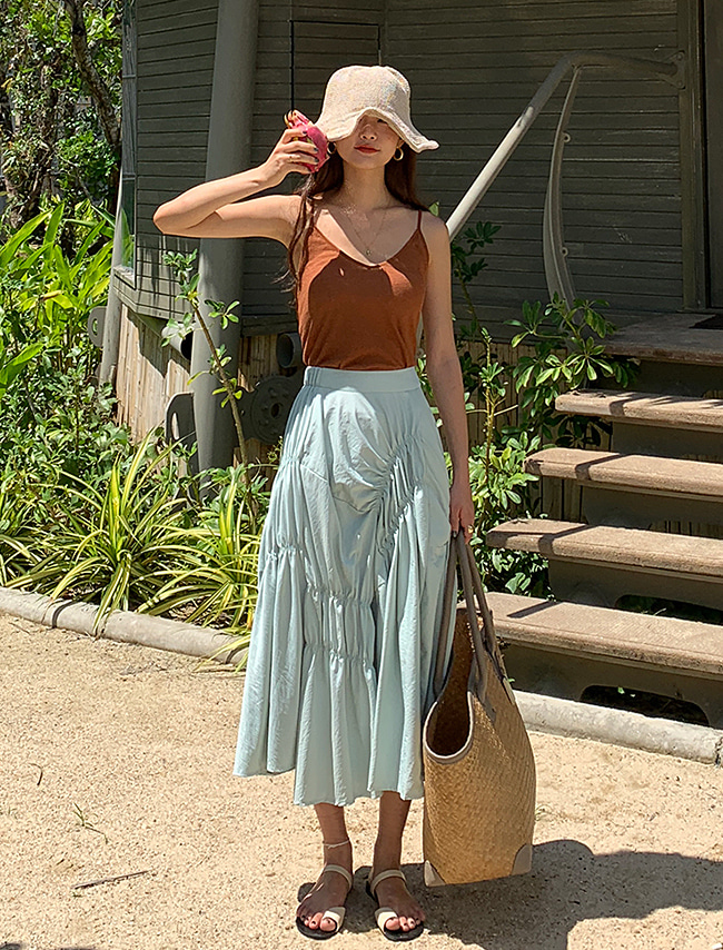 Shirred Solid Tone Long Skirt