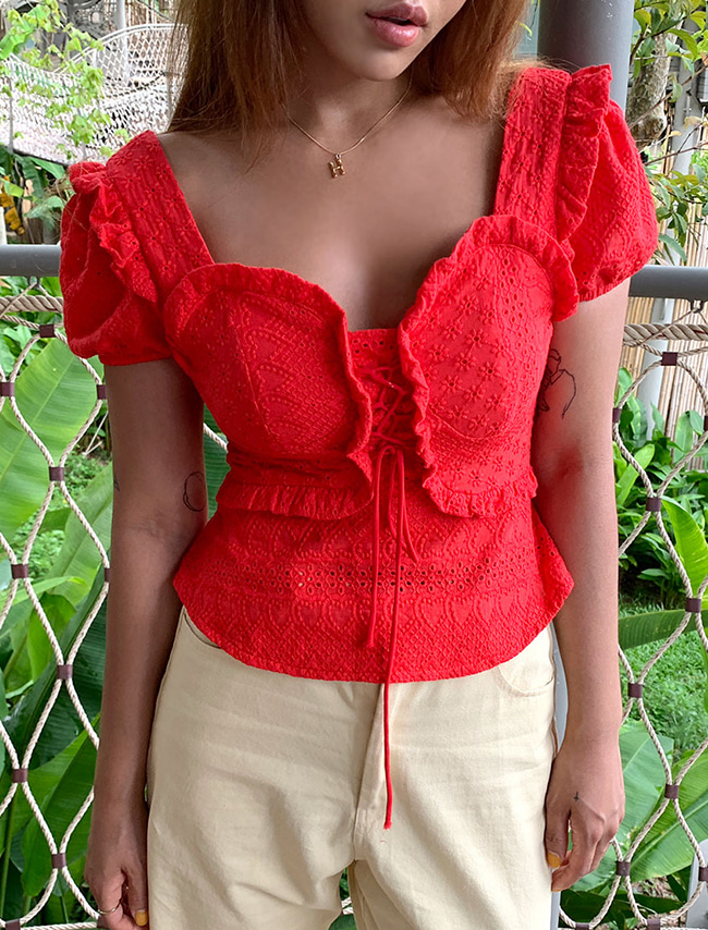 Eyelet Bustier Blouse
