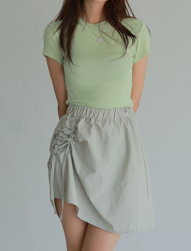 Solid Tone Shirred Mini Skirt