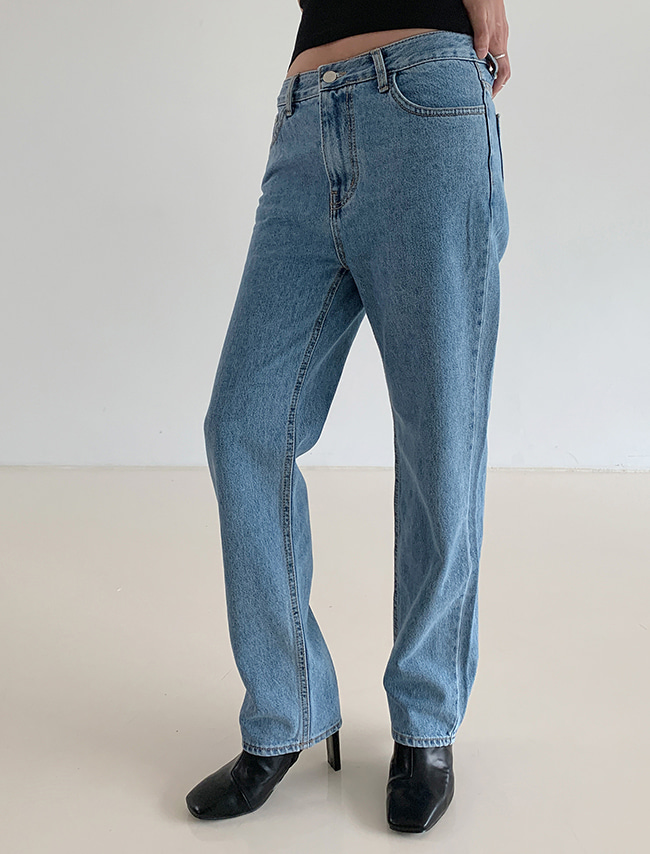 Straight Leg Mid Rise Denim Jeans