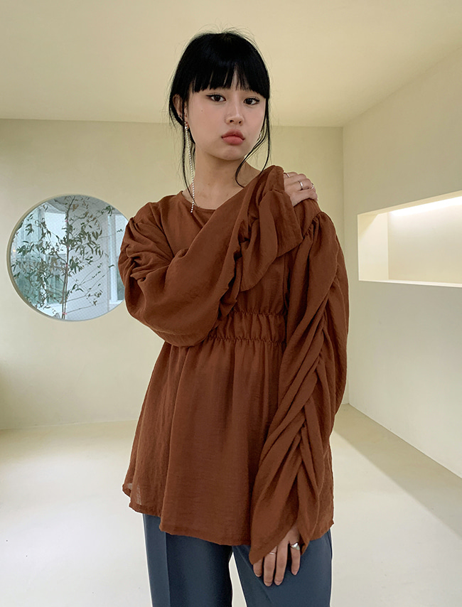 Loose Gathered Waist Blouse