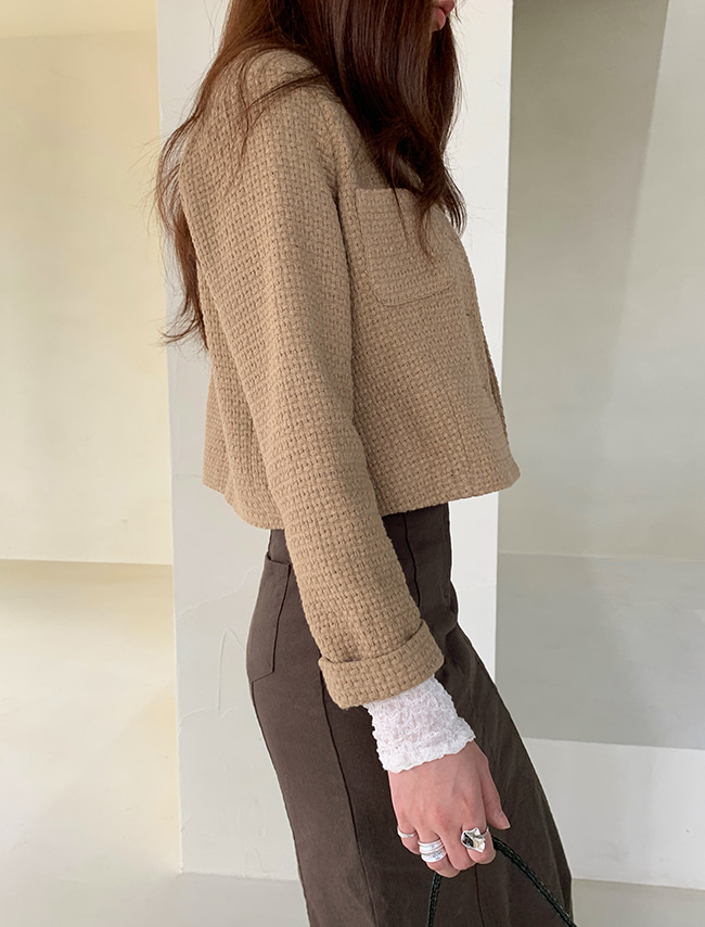 Weave Texture Cropped Jacket