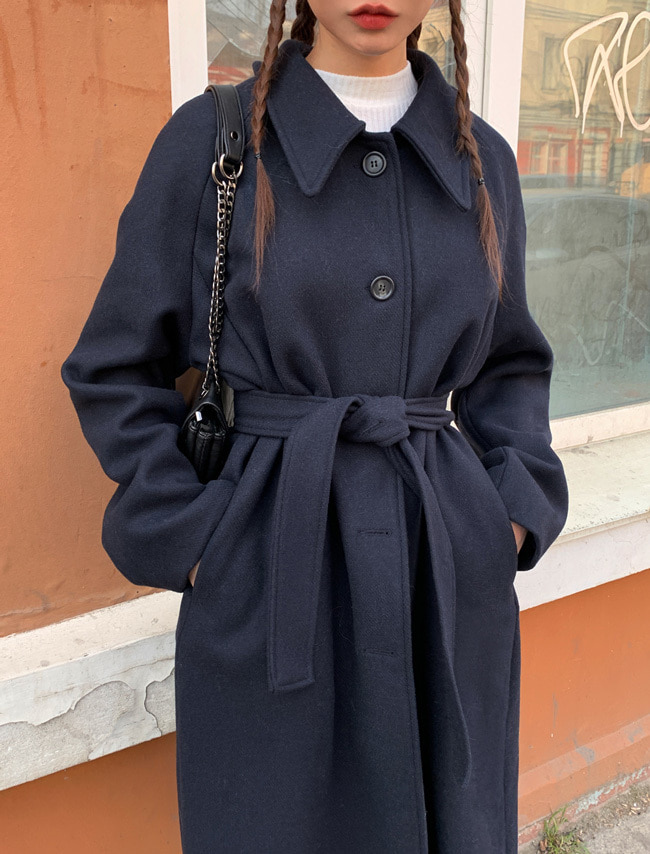 Collared Single-Breasted Long Coat