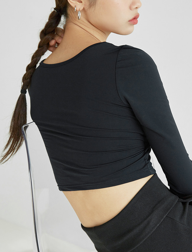 Black Long Sleeve Bra Top
