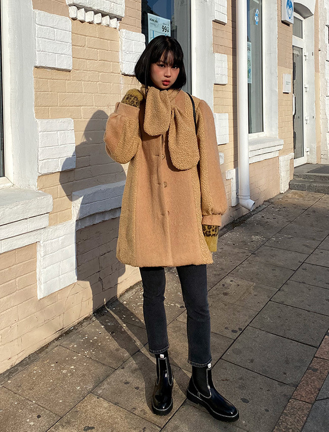 Scarf Accent Button-Up Woolen Coat