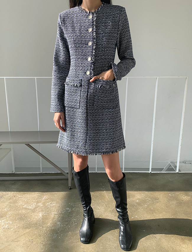 Tweed Woolen Mini Dress
